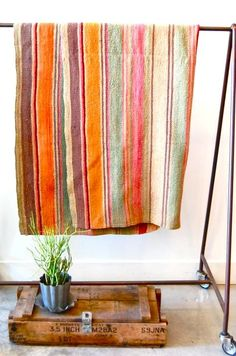 vintage bolivian blanket -- blanket and photo from spartan shop. These would be good stripes in a rag rug.