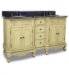 van061d-60-t | Hardware Resources Clairemont Buttercream Double Vanity with Preassembled Top and Bowls by Bath Elements