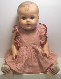 1954 Sun Rubber Baby Constance Bannister doll, 18 tall, Drinks, Wets