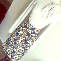 "Zara Floral Skirt New with tags , measures 16"" across waist 26.5"" long, 87% polyester 13% elastane Zara Skirts Pencil"