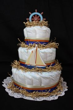 Baby Nautical Sail Boat Diaper Cake by KraftyPants on Etsy, $80.00