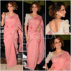 For the promotions of 'Rangoon' earlier today, Kangana Ranaut pulled off another saree look.In contrast to her last Glam saree look, she went simple . Saree Jacket Designs, Silk Saree Blouse Designs, Fancy Blouse Designs, Bridal Blouse Designs, Saree Jackets, Neckline Designs, Trendy Sarees, Designer Blouse Patterns, Saree Styles