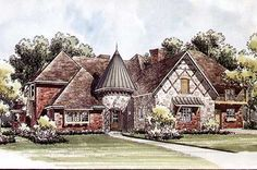 House plan number - a beautiful 5 bedroom, 4 bathroom home. Castle House Plans, Cottage House Plans, Craftsman House Plans, Country House Plans, Dream House Plans, Cottage Homes, House Floor Plans, Cottage Style, French Country Exterior
