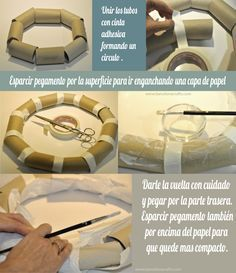 DIY – Tutorial – Corona de rafia, reciclando materiales.                                                                                                                                                                                 Más