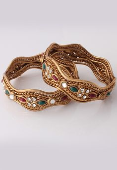 Red and Green Austrian Diamond Studded Bangles