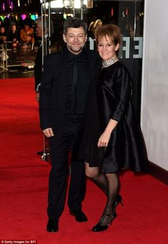 10/8/14.   Black mood: Actor Andy Serkis and wife Lorraine Ashbourne went in all black to the opening night