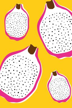 Feeling fruity - Dragon fruit pattern / surface print just for fun. Designed by Design by Cheyney pattern Dragon Fruit Pattern Abstract Illustration, Fruit Illustration, Pattern Illustration, Flowers Wallpaper, Poster Photo, Fruit Logo, Posca Art, Art Watercolor, Fruit Painting