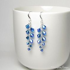 Shimmering Capri Blue Swarovski Crystal Cluster Silver Earrings Sapphire Color Birthday Gift Ocean Beach Mermaid Metallic Jewelry Ideas - Women's style: Patterns of sustainability Bead Jewellery, Beaded Jewelry, Jewelery, Jewellery Shops, Designer Jewellery, Paper Jewelry, Swarovski Jewelry, Crystal Jewelry, Swarovski Crystals