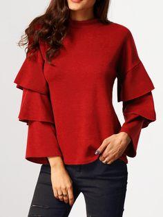 Blusa cuello mao manga de volantes -rojo 14.66