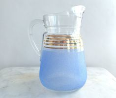 Pitcher French vintage pitcher glass pitcher by NorthtoByske