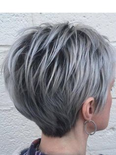 Grey hair or pixie cut? In this post you will find the best images of Pixie Haircut for Gray Hair that you will love! Hair trends come and. Best Short Haircuts, Short Hairstyles For Women, Short Wedge Haircut, Short Stacked Haircuts, Short Bobs, Popular Haircuts, Ladies Hairstyles Over 50, Ladies Short Hairstyles, Choppy Pixie Cut