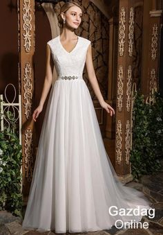 Helen Fontaine Modest Elegant Wedding Dress with Tulle Skirt Bridal Gown
