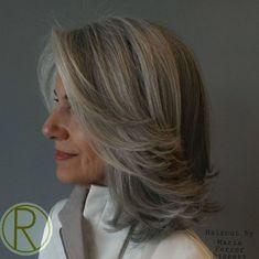65 Gorgeous Gray Hair Styles - Medium Layered Gray Hairstyle Over 50 - Grey Hair Over 50, Short Grey Hair, Medium Hair Cuts, Medium Hair Styles, Medium Curly, Hairstyles Over 50, Cool Hairstyles, Gorgeous Hairstyles, Scene Hairstyles
