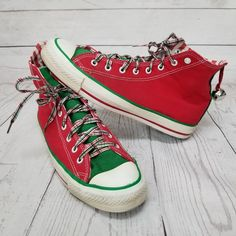 273c2c765aa8 Vintage USA Converse All Star Chucks Red Green Christmas Jingle Bells  Sneakers  Converse  Athletic