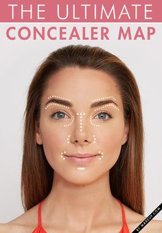 Use your concealer to its full potential! Do not limit the powers of concealer it can go many more places than the occasional blemish and under eye circles. Here is the ULTIMATE CONCEALER MAP. All Things Beauty, Beauty Make Up, Diy Beauty, Beauty Hacks, Fashion Beauty, Beauty Tutorials, Makeup Tutorials, Make Up Gesicht, How To Apply Concealer