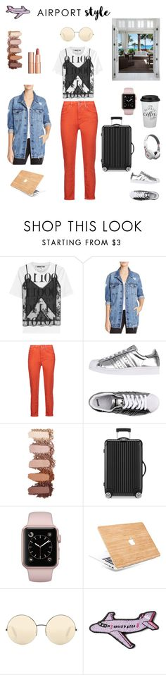 """""""Airport style - Vacation Mode"""" by mixmatchmag ❤ liked on Polyvore featuring McQ by Alexander McQueen, Nobody Denim, Acne Studios, adidas Originals, Charlotte Tilbury, Rimowa, Victoria Beckham, Beats by Dr. Dre and Stoney Clover Lane"""