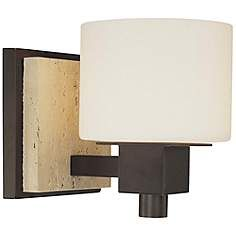 """travertine backplate Travertine Collection 6 1/2"""" High Wall Sconce"""