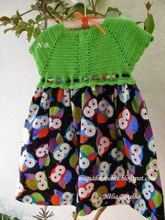 Magia do Crochet: Vestido com encaixe em crochet...continuando....