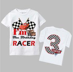Disney Cars camiseta para cumpleaños doble cara por funfashionsetc