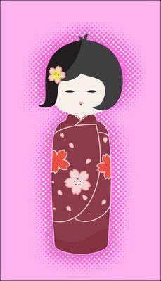 Blue Butterfly: Kokeshi Dolls