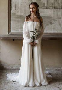 Details about Vintage Off Shoulder Long Sleeves Chiffon Beach Wedding Dress Boho Bridal Gowns Vintage-Off-Shoulder-Long-Sleeves-Chiffon-Beach-Wedding-Dress-Boho-Bridal-Gowns Boho Wedding Dress Bohemian, Western Wedding Dresses, Designer Wedding Dresses, Boho Dress, Boho Bride, Bridal Outfits, Bridal Dresses, Bridal Bouquets, Chiffon Wedding Gowns