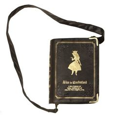 Alice in Wonderland Book Clutch/Cross Body Bag. This has lovely embossed details and is made of faux leather. Inner lining is of cloth with the print. Comes with a detachable sling so it can be also used as a clutch.