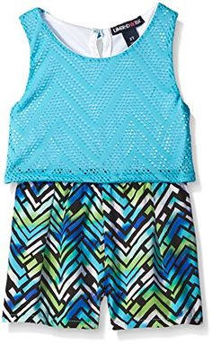 Limited Too Little Girls Toddler Fly Away Zig Zag Flounce Top and Printed Pleated Romper Turquoise 3T * Check out the image by visiting the link.Note:It is affiliate link to Amazon.