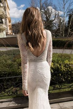berta bridal fall 2015 long sleeve lace sequinned sheath wedding dress deep v neck low open back view: