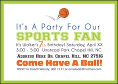 Sports birthday party invitation for an older boy
