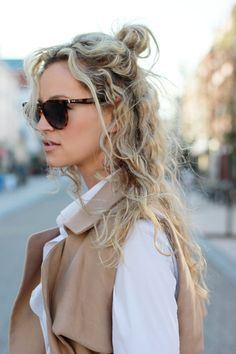 naturally curly hair half up style