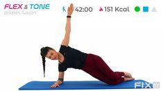 Allenamento completo Pilates Fusion Total Body con esercizi di tonificazione di media difficoltà ed esercizi per migliorare mobilità e flessibilità. Total Body, Kettlebell, Workout, Fitness, Youtube, Home, Work Out, Kettlebells, Youtubers