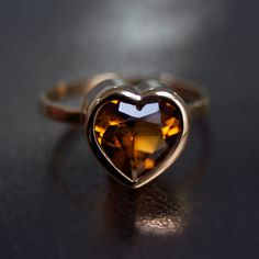 Heart Ring with Citrine Silver 925 gold plated by AliceMagnin, $200.00