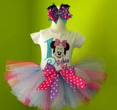 #MC Pink n Purple Birthday Minnie Mouse Tutu Set by PoshBabyStore.com