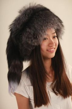 Real fox fur hat adult women solid red black gray cap round fringed beige white fedoras girl Russian mongolia beanie ushanka