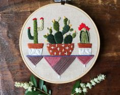 Cactus Embroidery Hoop Art Prickly Pear by MountainsofThread