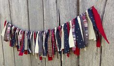 Patriotic Fabric Garland, of July Americana Decor, Prim Red White Blue Banner, Tattered Fabric Backdrop, Stars & Stripes Photo Prop 4th July Crafts, Fourth Of July Decor, 4th Of July Decorations, 4th Of July Party, July 4th, Memorial Day Decorations, Americana Decorations, Flag Decor, House Decorations