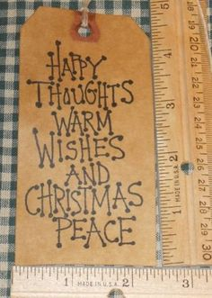 25 Large Happy Thoughts Christmas Saying Primitive Hang Tags 36 Free SHIP | eBay