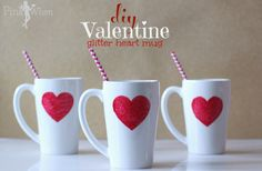 DIY Valentine Glitter Heart Mug with a little glitter, paint, and stencil, a dishwasher safe mug!