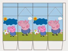 Bolo George Pig, Molde Peppa Pig, Peppa Pig Printables, Kit, Birthday Parties, Pig Birthday, Paper Art, Arts And Crafts, Cartoon