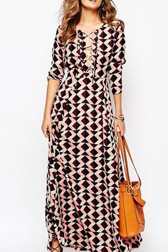 Printed Lace-Up Dres
