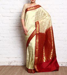 Off White & #Red #Kanjivaram #SilkSaree #Indianroots #flipkart