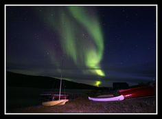 'Through Ed Stockard's Viewfinder. Aurora Borealis rises over Lake Fergusson.'