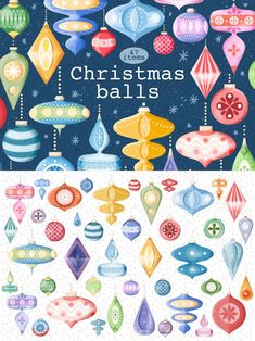 #illustration #christmas #holidays #christmastree #christmasballs #graphic #clipart #cute #kids #party #newyear #pattern #green #pink #red #toys #art