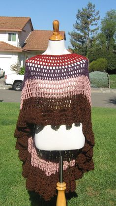 HIPPIE BOHO PONCHO Crochet Shawl Capelet Pink Brown by marianavail, $75.00