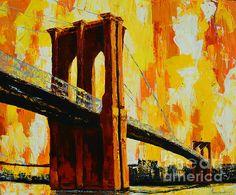 Landmark painting of the Brooklyn Bridge by Patricia Awapara #art #brooklynbridge