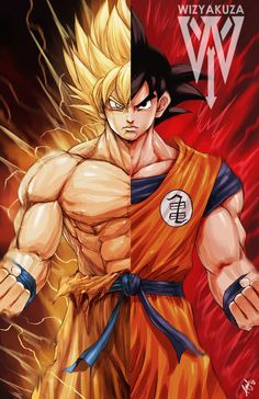 Goku Super Saiyan Split Dragon Ball Z 11 x 17 by Wizyakuza