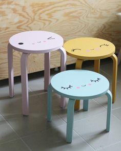 Enjoy this collection of Ikea stools hacks for kids Ikea Chair, Ikea Furniture, Ikea Kids Stool, Furniture Dolly, Furniture Stores, Luxury Furniture, Kids Decor, Diy Room Decor, Boy Decor