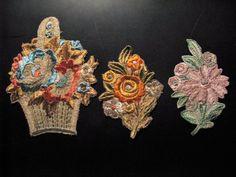 3 x Antiques Appliques Flowers ! C. 1910!