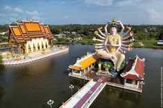 Wat Plai Laem is a Buddhist temple compound on Samui's north-east coast of Koh Samui, Thailand. Some amazing aerial photography of Koh Samui taken by various people, predominantly by, Jacques Herremans. More Koh Samui info at http://islandinfokohsamui.com/