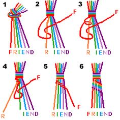 friendship bracelet how to...pinning this in case i forget how to make one of these when i'm 80 and am making friendship bracelets at the nursing home
